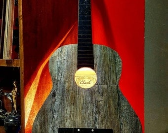 GUITAR LAMP, illumination, light, wood, handmade, italy, italia, design, music, lamp