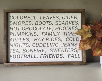 Signs of Fall Friends and Football Framed Wood Sign