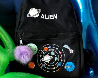 Outer space alien grunge backpack