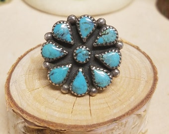 Native American Turquoise Cluster Ring