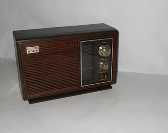 Vintage SONY  Model ICF-9630W 6 Transistor,Table Radio,2 band Am/Fm,Dark Brown Plastic console,Vintage Sony Radio,Vintage Table Radio,WORKS