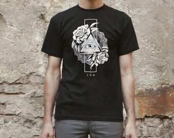 Illuminati Triangle Eye T-shirt Screenprinted Men T-shirt Unisex T-shirt