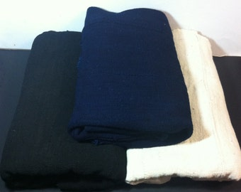 Authentic Solid Black, Indigo, or White African Mudcloth Fabric: Handwoven Made in Mali