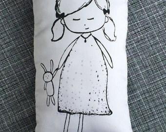 black and white sleepy doll kids throw pillow