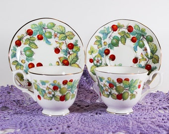 Strawberry China Cup and Saucer