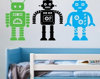 Pack of 3 large Robots - Vinyl wall Decal Sticker - kids bedroom playroom robot - children