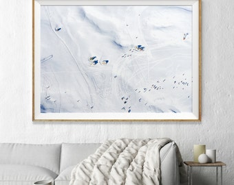 Snow Aerial Photography, Abstract Large Wall Art Decor, Colour Fine Art Photography, Art Prints, Skiing, Snow, White, Monochrome Abstract