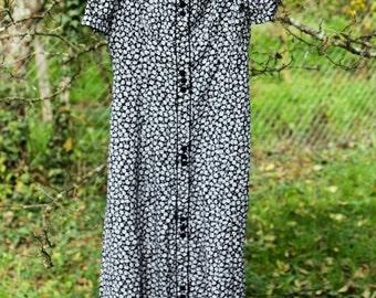 SALE Long Beautiful Flower Pattern Black Dress