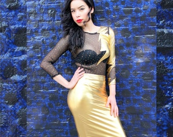 READY TO SHIP Limited Edition Gold Metallic Stretch Knit Pencil Skirt