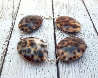 Tiger Cowrie Shell Bracelet,  Zen Jewelry, Cowry Shell Bracelet, Goddess Jewelry, Gifts for Her, Shell Bracelet, Spiritual Jewelry