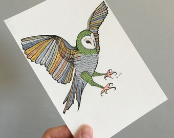 Owl Illustration Original Drawing Art - No. 93 - Markers and Ink Green Grey Gray brown neutral colors - affordable art OOAK