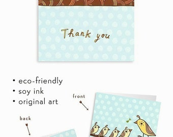 Thank you Cards Set - California Quail Art Thank You Cards Baby thank you notes thank you cards