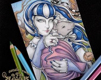 Original Art Wonderland Art Gothic Art illustration Dark Art Alice Art Gothic Gift for Her Home Decor Wall Decor Creepy Art Cute Alice Gift