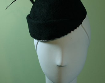 Black Wool Cuffed Women's Beanie Hat with Zipper Trim - Black Wool Women's Beanie Hat - OOAK