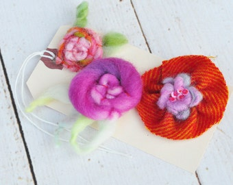 Fiber Art - Textile Embellishment Set - Handmade Wool Flowers