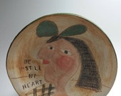Ceramic handmade slab plate,  Picasso like, ORIGINAL