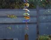 Wind Chimes Sea Glass Sun Catcher Copper with Brass Chimes, beach glass, stained glass windchime