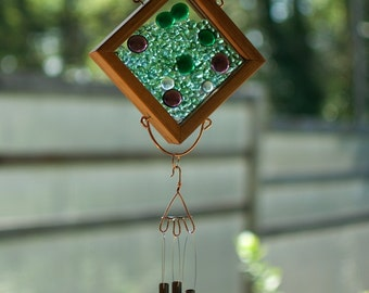 Wind Chime Glass Copper Cedar Suncatcher Windchime