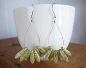 Light green petal earrings - hoops jewelry