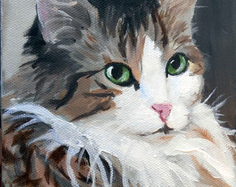 Custom Cat Portrait Oil Painting, 8 x 10