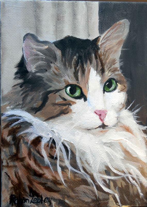 Custom Cat Portrait Oil Painting, 8 x 10