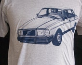 Volvo 240 Tee Shirt navy on gray