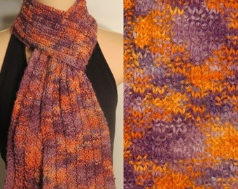 Hand Made Knit Baby Alpaca Purple Orange