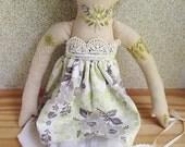OOAK Embroidered cloth heirloom doll Elinor