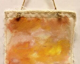 Bright Orange Sky, Flying Bird, Landscape Painting, Wall Hanging, Original Painting, Wall Decor, Winjimir, Art, Gift,  Office Art, Cubicle,