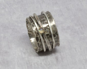 Sterling Silver Rainbow Moonstone Spinner Ring Wide Band Meditation Ring