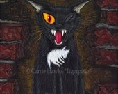 Black Cat Art Cat Painting E A Poe Horror Gothic Cat Literary Cat Art Limited Edition Canvas Print 11x14 Art For Cat Lover