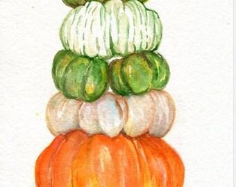Pumpkins watercolors paintings original, kitchen decor,  Original artwork 5 x 7 watercolor original painting, Stack o' pumpkins painting