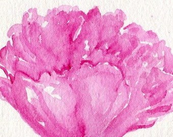 ACEO Peony watercolor painting original, art card, small  Pink Flower Painting