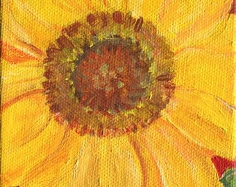Sunflower painting original on red canvas  Original sunflower artwork, Painting of sunflower acrylics painting, 4 x 6