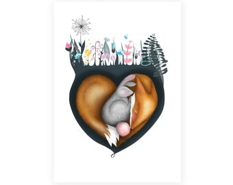 Fox and Rabbit Valentines card - Greetings card - cards -  blank - no message valentine love illustration art