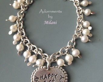 Happy Anniversary Bracelet for Wife 1st 5th 10th 15th 20th Sterling Silver Personalized Heart Pearls Custom Beaded