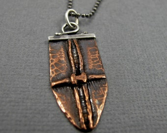 Fold Formed Copper and Sterling Silver Shield Necklace - Cross Pendant