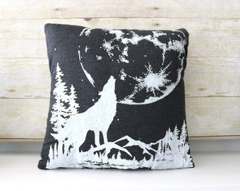 Hand Screen Printed Pillow Charcoal Black Wolf Moon - One and Only of Each made