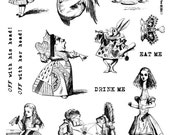 Full Sheet Red Rubber Stamps Alice in Wonderland #1 designs