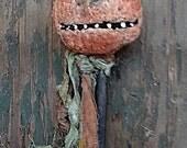 Primitive JOL Pumpkin Paper Mache Halloween Ornament Decoration Finished Hand Made  Hickety Pickety