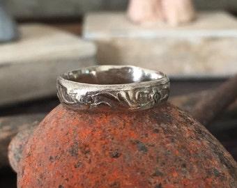 Antique look ring wedding band 10k white gold ring