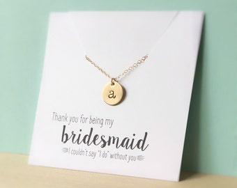 Bridesmaid Necklace, Bridesmaid Jewelry, Bridesmaid Gift, Gold Initial Necklace, Gold Disc Bridesmaid Necklace, Initial Disc, Thank you Gift
