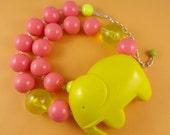 Big Yellow Elephant Necklace - plastic elephant, chunky gumball beads, statement necklace, retro cute kitsch, Harajuku Decora, quirky bold