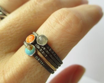 Tiny Stacking Rings Set -1 Gold Skinny Stack - Sterling and fine silver and Gold-fill - Your choice of birthstones or any stone