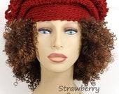 Crochet Hat Womens Hat, Womens Crochet Hat, Steampunk Hat, Avant Garde Hat, Cranberry Hat, LINDA Cloche Hat, Formal Hat