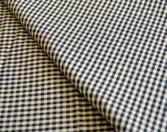 Vintage Fabric Light Cotton Brown Black Gingham Checked by the Yard Sewing Fabric