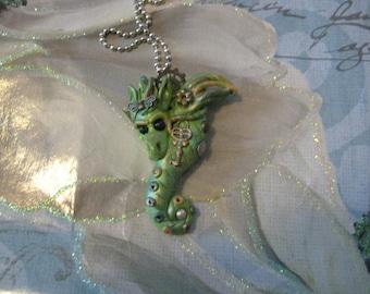 Steampunk dragon necklace, clay, handmade, friesen type, mica powders, polymer, pendant, silver, ballchain