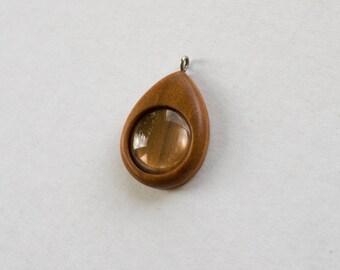 Finished hardwood pendant blank - Cherry - 20 mm - Silver finish eye hook bail