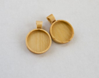 TWO Pendant blanks fine finished hardwood - Maple - 25.5 mm cavity - Wooden Bail - (Z25-Mp)