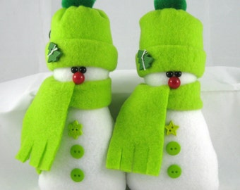 Christmas Decoration, Snowman Ornaments, Set of 2 Flurrie Frizzle, Handmade Decorative Stuffed Snowman Ornaments in Lime Green Fleece